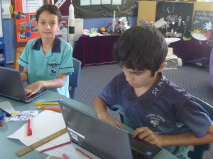 Chrome books are used in combination with other classroom tools.